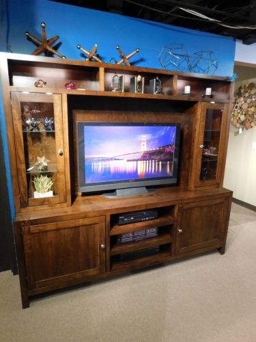 Capital Square Entertainment Center with Glass & Wood Doors