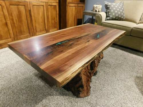 Live Edge Coffee Table with Stump Base