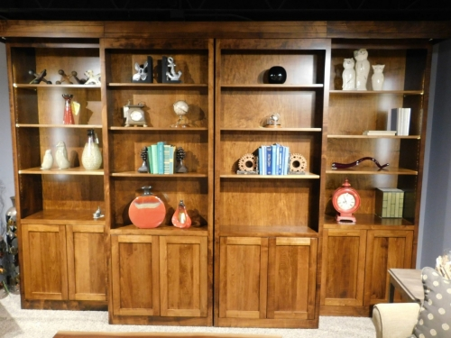 Library Collection Sliding Bookcase Entertainment Center