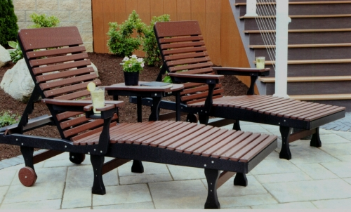Adirondack Casual Back Chaise Lounge and Oblong End Table