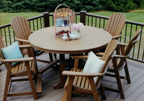 """Adirondack Garden Classic 60"""" Round Table, Counter Height, with Comfo-Back Counter Chairs"""