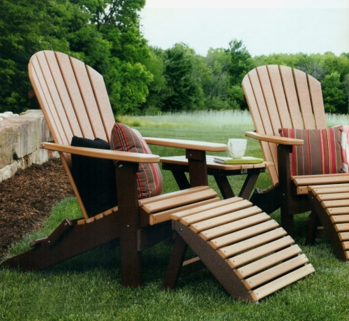 Comfo-Back Folding Adirondack Chairs, Folding Leg Rests, and Folding End Table