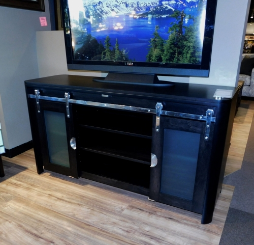 Platinum TV Stand with Frosted Glass Doors