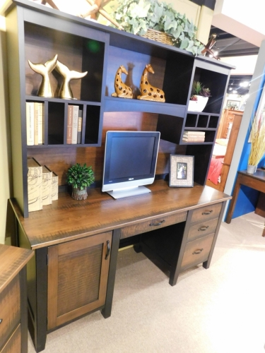Manhattan Credenza Base and Hutch with Re-Sawn Tops and Drawer Fronts