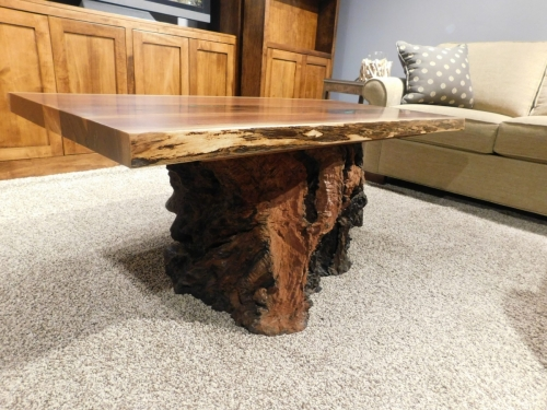 Live Edge Coffee Table with Stump Base and Stone Inlay
