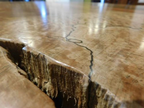Spalted Maple Round Slab Coffee TableSpalted Maple Round Slab Coffee Table