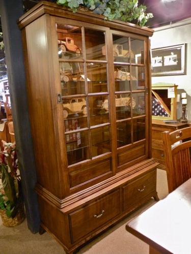 Traditional Cabinet with Sliding Glass Doors and Lower Drawers