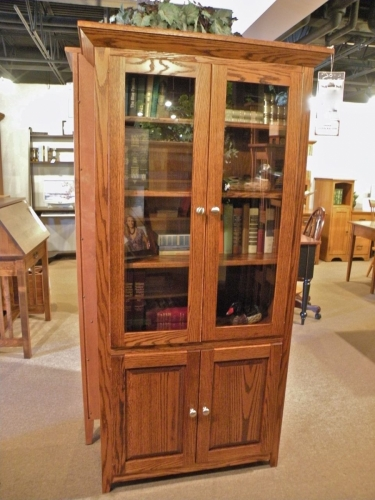 Shaker Bookcase with Glass and Panel Doors