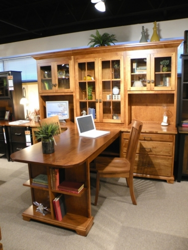T-Shaped Partner's Desk with Wall Hutch
