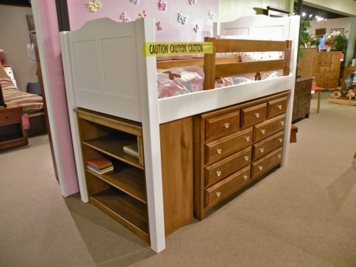 Child's Lofted Bed with Bookcase and Dresser Below
