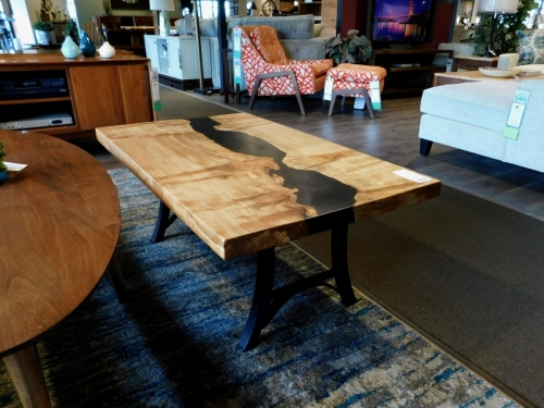 SOLD - Black Resin River Coffee TableBlack Resin River Coffee Table