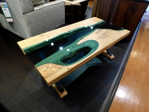 SOLD River Coffee Table with Blue Glass