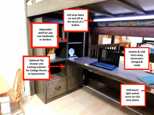 1920 Series Loft Bed with Desk