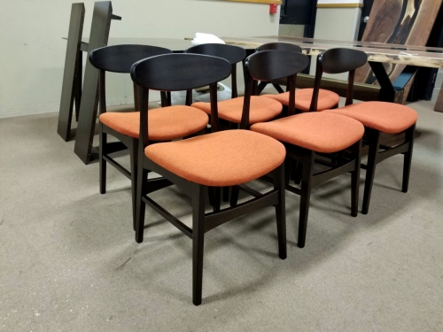 Marque Chairs with Tangerine Fabric Seats