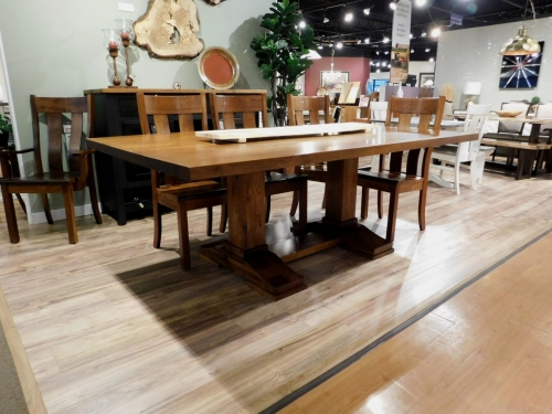 Rustic Table with Rochester Double Pedestal
