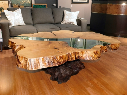 Oversized River Table on Stump Base