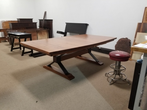 Boat-Shaped Sapele Table with Union Square Base