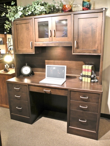 Urban Double Pedestal Desk with Wall Hutch